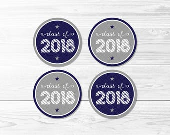 Graduation Round Labels -- Class of 2018, Blue & Gray, School Colors, Graduation Party, 1 Inch, 2 Inch, Printable, Instant Download