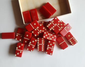 vintage red dominoes | retro games | vintage dominoes original box | retro red dominoes | dominoes | game room decor | vintage games