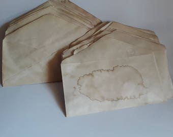 10 coffee stained envelopes for crafts   hand dyed papers   coffee dyed papers   papers for art journals   collage papers   junk journaling