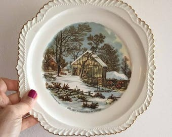 """Vintage Currier & Ives """"The Old Homestead In Winter"""" Collector Plate, Decorative Wall Plate"""