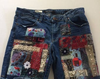 patched jeans shorts, patchwork, up cycled denim, hippie, boho, bohemian, trendy denim, size 12