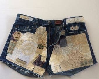 patched shorts, boho shorts, bohemian denim, cut offs, patchwork, up cycled, festival jeans, lace, size 32