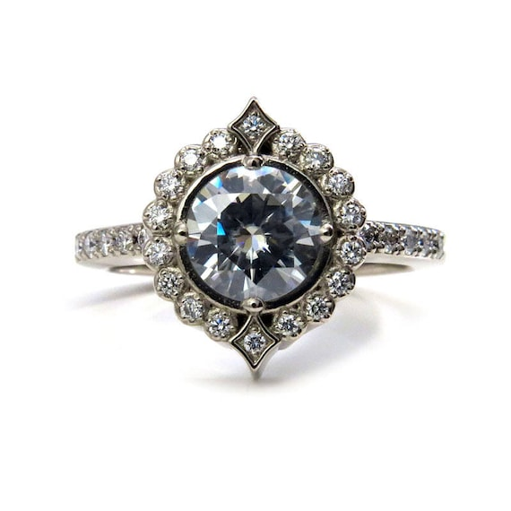 Moissanite Pointed Diamond Halo Engagement Ring With White Or