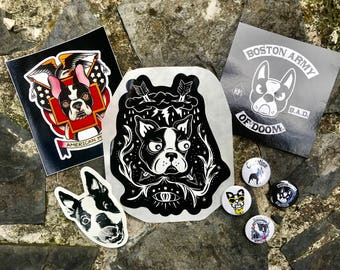 Clevotine Boston Terrier Button Sticker Pack