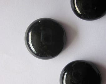 Black Glass Cabochons 20mm 4 Cabochons