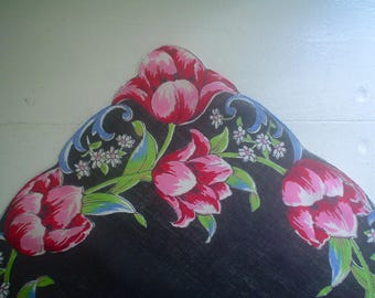 Black Linen Hankie with Pink and Red Tulips Colorful Vintage Handkerchief
