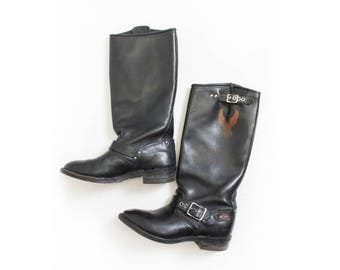 Vintage Harley Davidson Motorcycle Boots - Tall Black Leather Sz 6