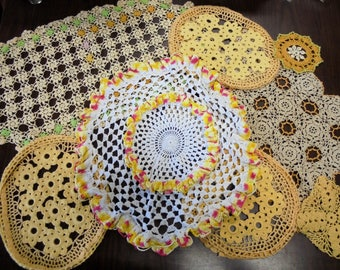 Vintage Hand Crochet Yellow Doilies Crocheted Floral Cottage / Shabby Chic Antique Lot of 8 Lace