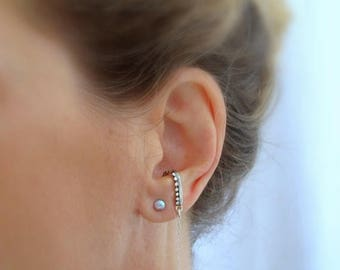 Oxidized silver suspender earring, Sterling silver SINGLE  suspender earring, Long chain earring