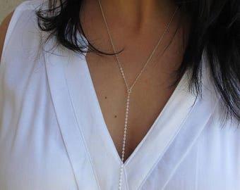 Sterling silver bar necklace, Long vertical bar necklace , Layering necklace made to order