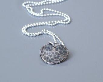 Disc necklace for guys, Sterling silver mens necklace, Mens oxidized jewelry, Recycled silver pendant, Minimalist necklace