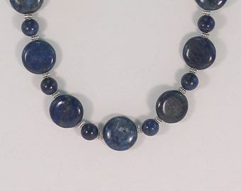 Blue lapis lazuli beaded necklace, lapis jewelry, gift for her, gemstone jewelry, lapis lazuli necklace.