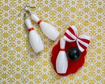 Retro Bowling Pin Earrings, Rockabilly Pinup Novelty Earrings