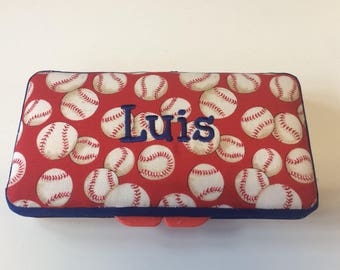 Personalized Baby Baseball Wipe Case
