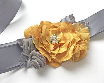 Mustard Yellow Bridal Sash - Gold Yellow and Grey Fabric Flowers with Swarovski Sew on Crystal and Pearl Belt for Bridesmaid, Special Event