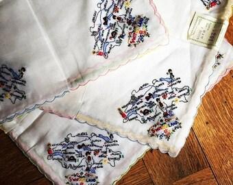 ON SALE Vintage 50s Embroidered Handkerchief Lot Switzerland