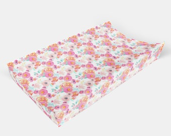 IndyBloom Bright Watercolor Floral  - Choose from Boppy Cover + Changing Pad Cover + Crib Sheet + Rail Cover + Crib Skirt or Blanket