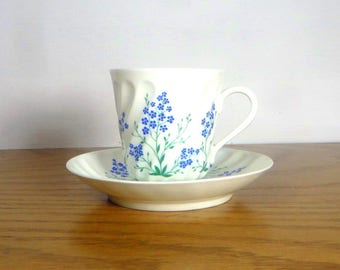 Lomonosov Russia Cup and Saucer Blue and White Porcelain Tea Cup with Saucer Cottage Chic Floral Cup and Saucer