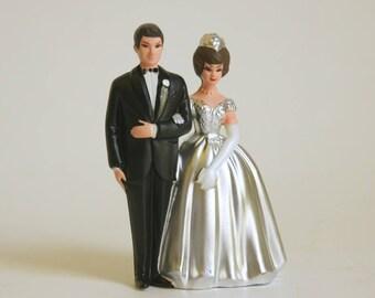 Vintage Cake Topper, 25th Anniversary Decorations, Silver Wedding Anniversary, Plastic Wilton Couple