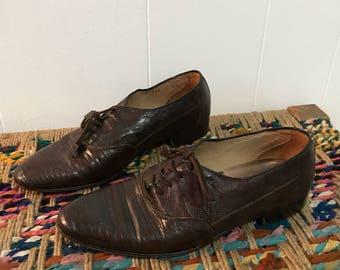 Vintage genuine lizard skin brown oxfords booties- size 8- 8.5- sale