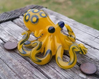 Blue Ringed Octopus Glass Pendant