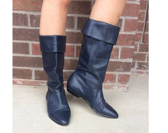 vtg 80s NAVY BLUE tall Cuff BOOTS riding 10 flat pirate slouchy boho preppy leather shoes