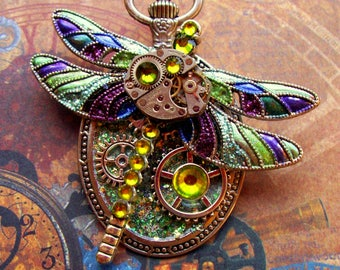 Steampunk Pin (P726) Dragon Fly Brooch, Hand Painted Sparkle Acrylic, Gears and Swarovski Crystals