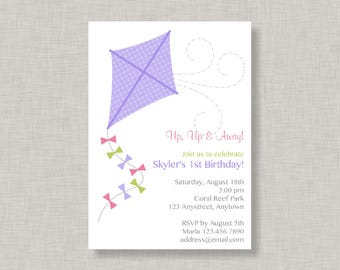 Kite Invitation, Kite Birthday Invitation for girls, Park Party, Printable
