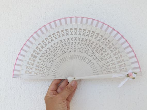 White Pink Posy Hand Fan
