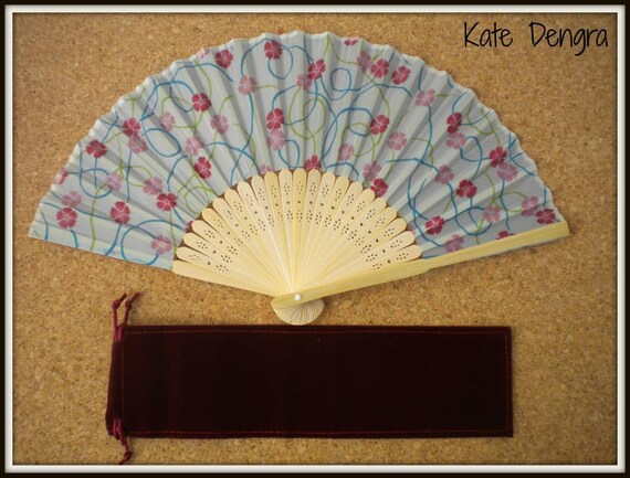 Blue Pink Floral Lightweight Bamboo Hand Fan Budget Price Folding Fan from Spain