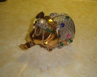 vintage napier jewelry bejeweled gold plated elephant bank figurine