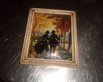 vintage framed silhouette picture wall hanging colored fall reverse painted victorian couple bubble glass
