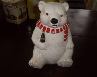 vintage coca cola polar bear cookie jar