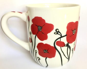 Red Poppy Coffee Mug - Hand Painted Flower Mug - Poppies - Kitchen Decor