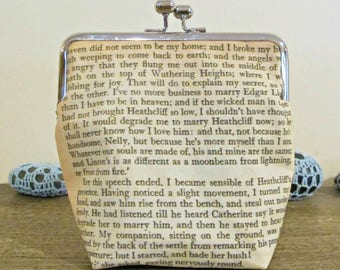 Wuthering Heights Purse Clutch Kisslock Bag Quote Whatever Our Souls Are Made Of His And Mine Are The Same Bronte Bridal Wedding Bridesmaid