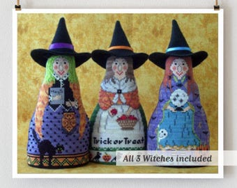 Bewitching Trio cross stitch patterns by Needle's Notion at thecottageneedle.com Halloween October scary hand embroidery