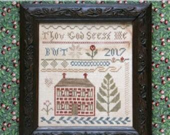 Pre-order 2018 Nashville Market HEARTSTRING SAMPLERY Thou God Seest Me counted cross stitch patterns at thecottageneedle.com