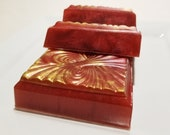 Soap - Christmas Festival Bar Soap - Red and Gold Soap - Holiday Red Berry Spices Oak Creamed Musk Persimmon Christmas Stocking Stuffer Soap