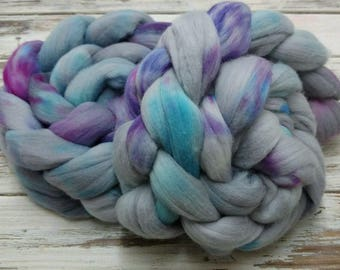 Vintage Funk 4oz Superfine 18.5 micron Merino Wool Spinning Fiber Combed Top Roving Felting Gray Grey Purple Pink Blue Aqua Turquoise