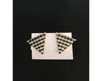 Vintage Black and White Gingham Triangle Post Earrings