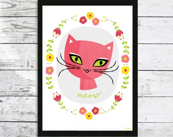 Pink Meow Cat and flower print - Cat print - Cat picture - Cat Lovers gift - Cat Prints - Cat art print