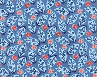 Kate Spain Voyage Fabric by the Yard, Jambi in Delft Blue, Moda Fabrics, 27282-13