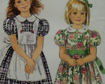 DRESS & PINAFORE Pattern • Simplicity 7422 • Girls 3-8 • Peter Pan Collar • Puff Sleeve • Party Dress • Childrens Patterns • WhiletheCatNaps