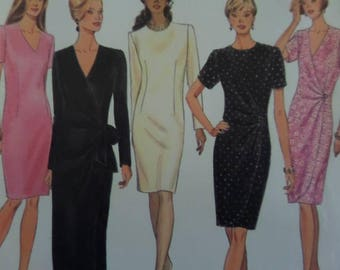 MOCK WRAP DRESS Pattern • Simplicity 9352 • Miss 12-16 • V-Neck Dress • Dart-Fit Dress • Sewing Patterns • Modern Patterns • WhiletheCatNaps