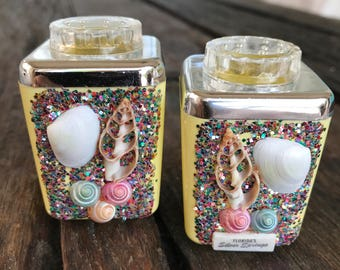 NOS Vintage Florida Silver Springs Souvenir Shell Glitter Salt and Pepper Shakers in Original Plastic Gift Box