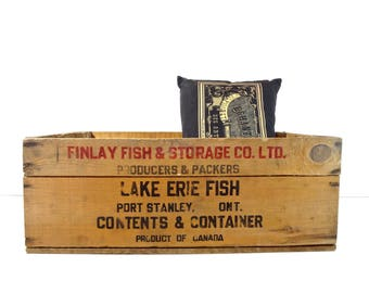Vintage Wood Crate / Finlay Lake Erie Canada Fish Large Wooden Crate / Rustic Storage