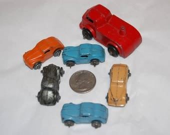 Barclay Toys 1930's Die Cast Cars with Car Carrier Cab Five Miniature Die Cast Cars BARCLAY / TOOTSIE TOY Style
