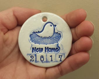 New Home 2017 Ornaments, Handmade Pottery, New Home Gift, Housewarming Gift