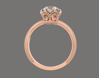 Vintage 6.5 mm Moissanite in a gold diamonds engagement ring SKU David