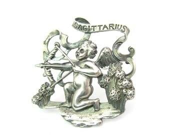 Sagittarius Brooch. Sterling Silver Zodiac Jewelry by Cini. Archer Bow & Arrow Cherub. Florentine Italian Baroque Vintage 1950s Astrology